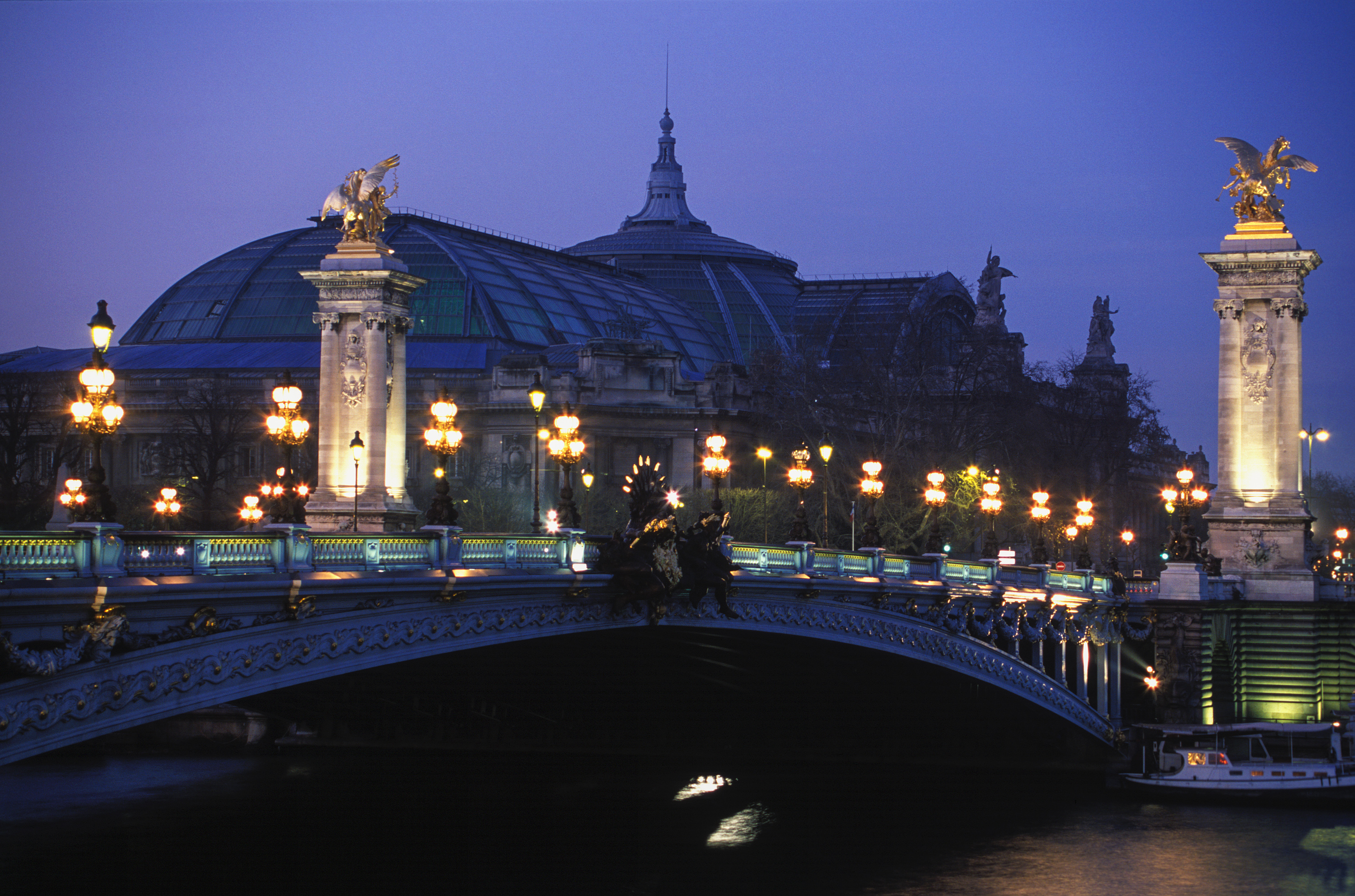 Alexander III bridge at night Paris