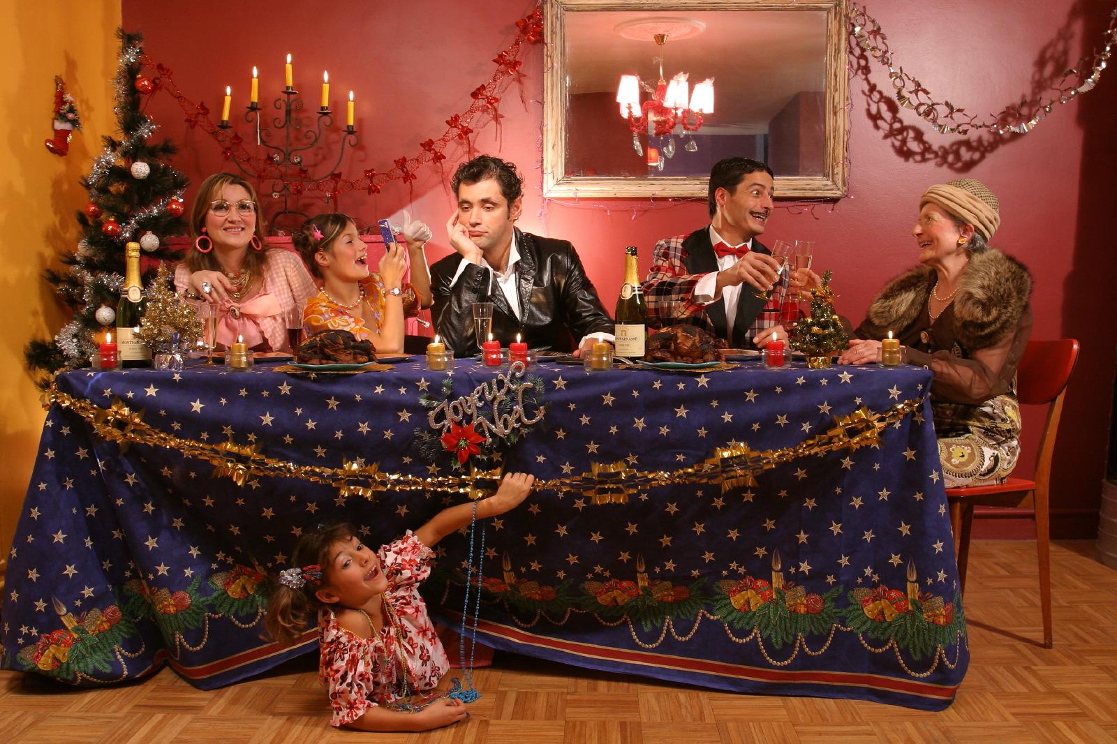 Christmas family scene postcard