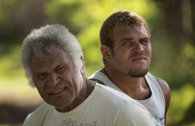 Portrait of the last paddler in New-Caledonia and his son