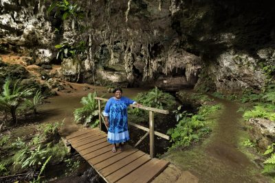 Portrait of Julie guardian of Queen Hortence cave isle of Pines, New Caledonia